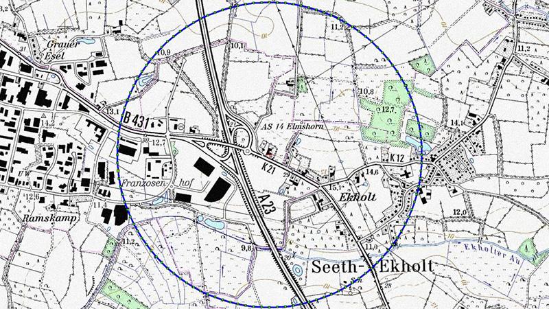 Mit dieser Karte weist der Kreis Pinneberg auf den eingerichteten Sperrbezirk hin. @ Kreis Pinneberg