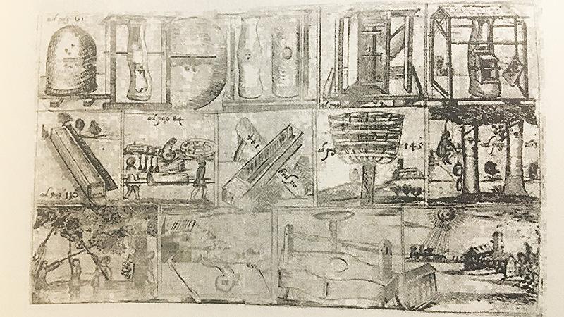 """Das Werk """"Gründlicher und nützlicher Unterricht von der Wartung der Bienen"""" von Nicol Jacob (1568) gilt weithin als Beginn der deutschen Bienenliteratur und galt gut 100 Jahre als Standardliteratur. Diese Zeichnung stammt aus einer von Caspari Höffler überarbeiteten Fassung von 1660. Es zeigt unterschiedliche Szenen aus der Imkerei."""